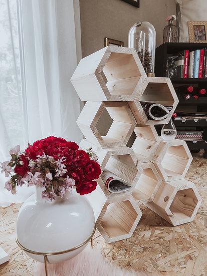 Mały regał , stolik pomocniczy przestrzenny hexagon