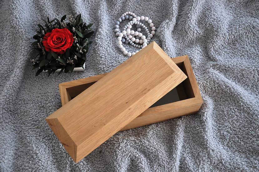Dębowy zestaw pudełko i stojak na pędzle