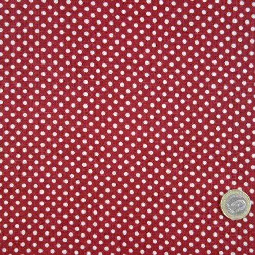Tela de Lino Granate con Topos Beis