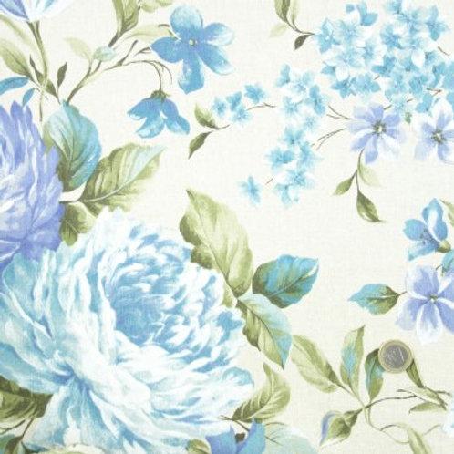 Telas Flores en Azul