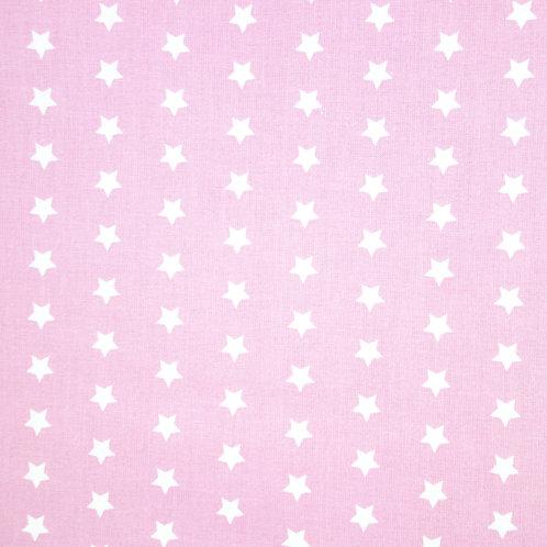 Telas con Fondo Rosa y Estrellas Blancas