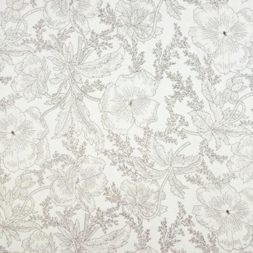 V 0030 Tela Crema Flores Marcadas