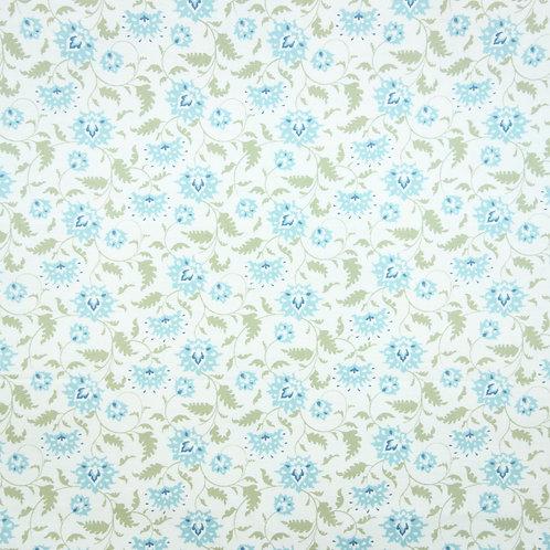 UA 009 Tela Tilda, Flores Azules-Verde Medianas