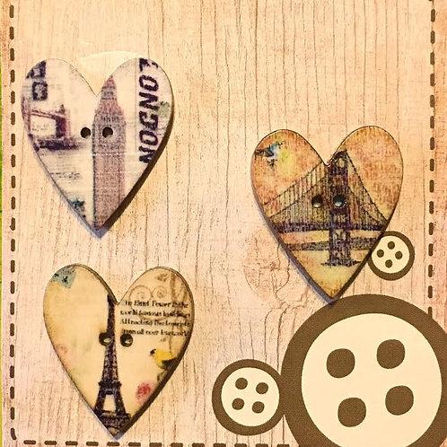 Botones Madera, Corazones Vintage