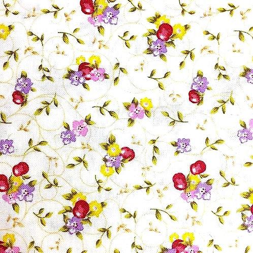 Fondo Blanco, Florecillas Rojas y Amarillas