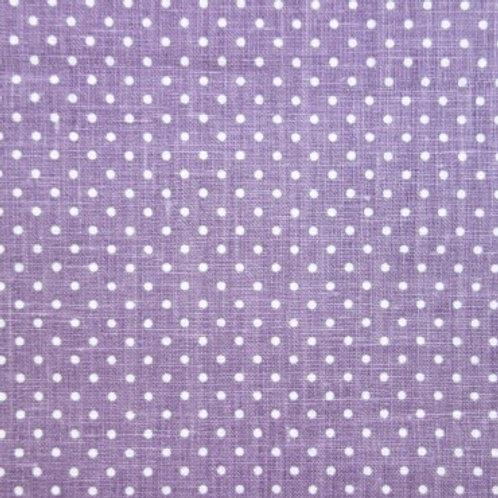 Tela de Lino con el Fondo Lila y Topitos de Color Crema