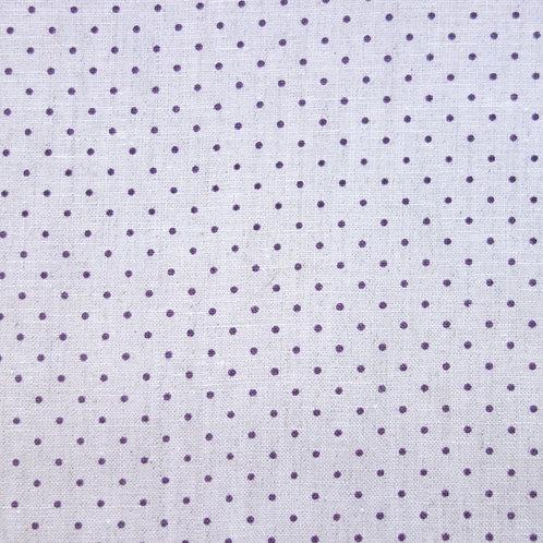 Tela de Lino con el Fondo Color Crema y Topitos Lila