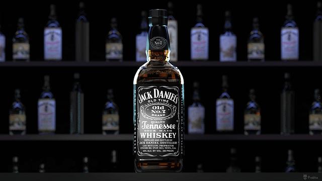 Bouteille de Jack Daniels sur un comptoir