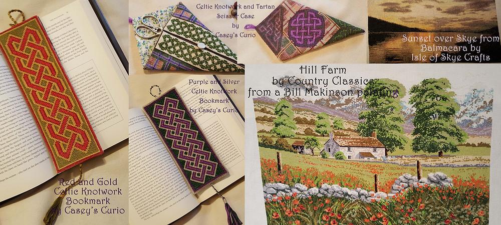 cross stitch scotland uk ireland isle of skye scissor case bookmark landscape farm hill celtic