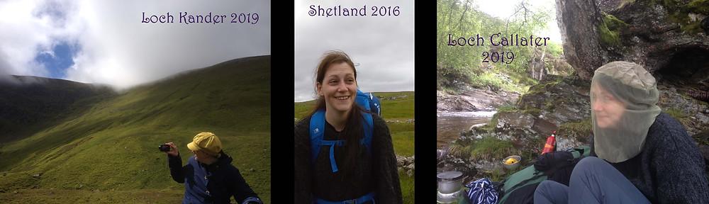 scotland loch camping walking hills burn midgies shetland uk