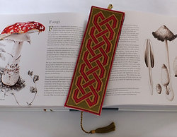 Red and Gold Celtic Knotwork Cross Stitch Bookmark