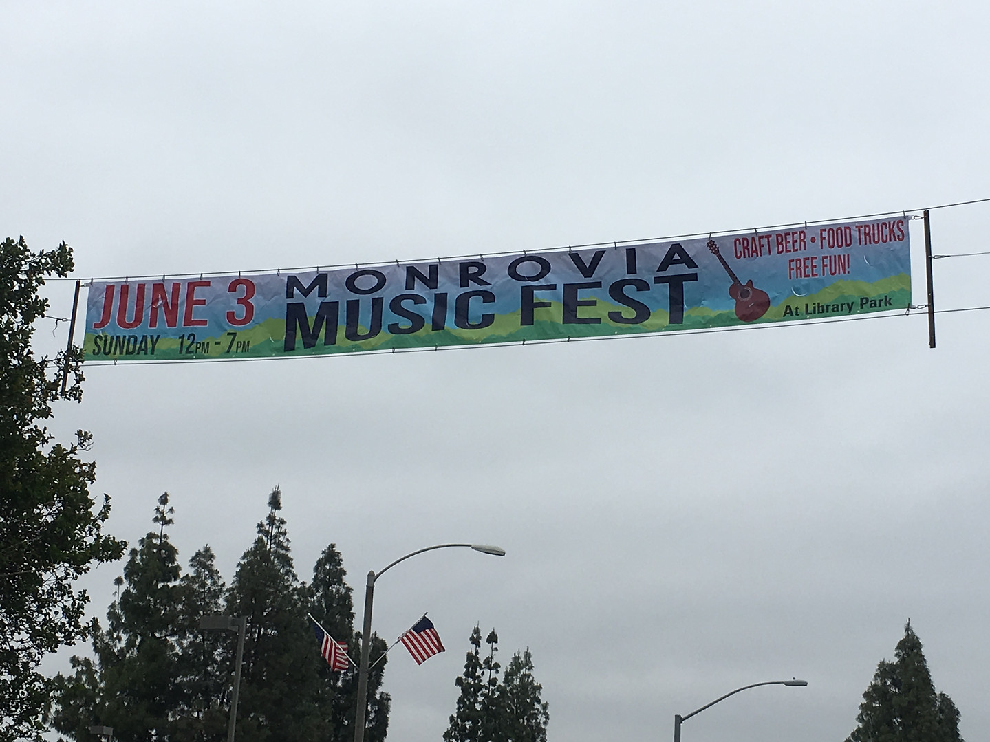 This huge banner is at Huntington Drive and Myrtle Ave.