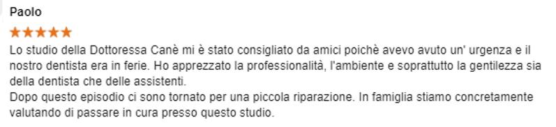 Recensione_Paolo_su_Studio_Dentistico_Ca