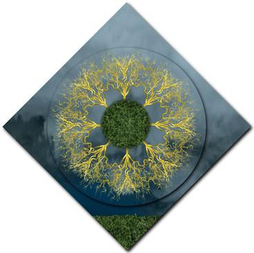 Gold Discharge Mandala (diamond rotation)