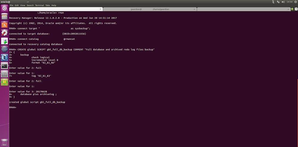Creating the RMAN stored script