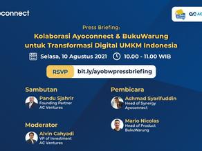 Ayoconnect dan BukuWarung Kolaborasi, Hadirkan Fitur Penjualan Produk Digital bagi UMKM Indonesia