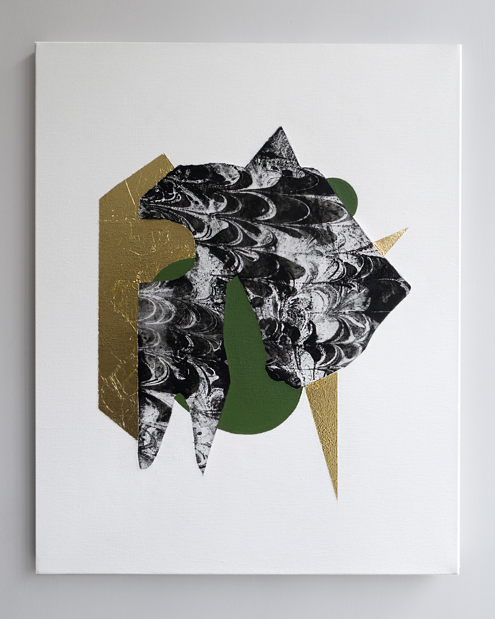 The troubled flâneur 2018 Gold foil and acrylic on marbled canvas 40x50cm