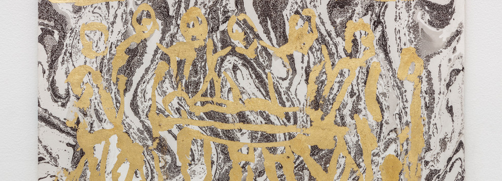 Champions, soccer player on a gurney 2019 Gold foil on marbling rosaspina paper 35,5x50cm