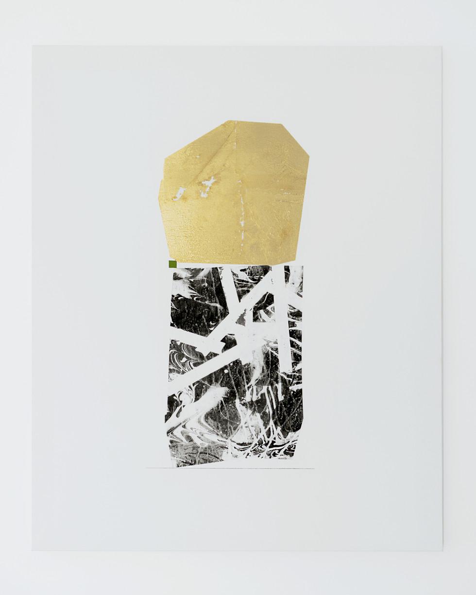 A self portrait 2018 Gold foil, acrylic on marbled canvas 100x80cm