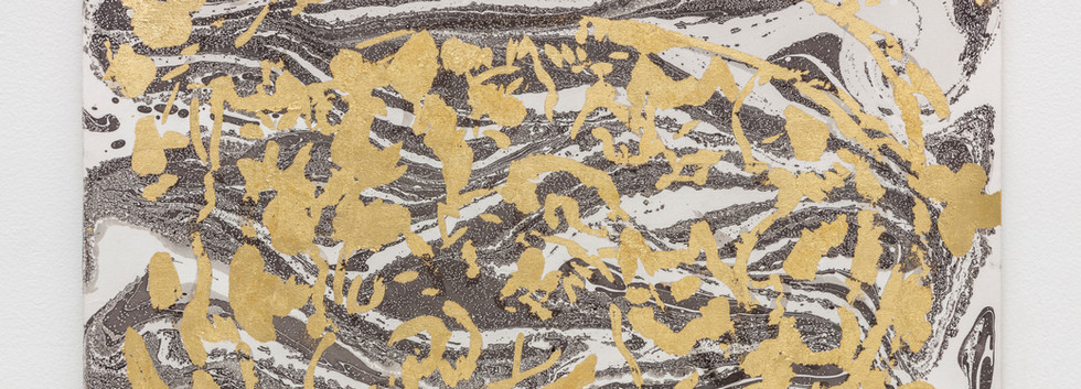Kitties are searching a new Home 2019 Gold foil on marbling rosaspina paper 35,5x50cm