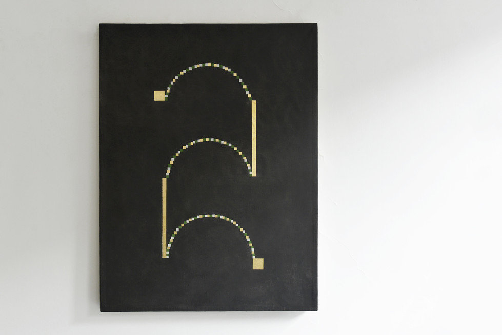 I always think about your curly hair but our hips rarely touch 2017 Gold foil, acrylic, graphite, wax, gesso and rabbit glue on linen 90x120cm