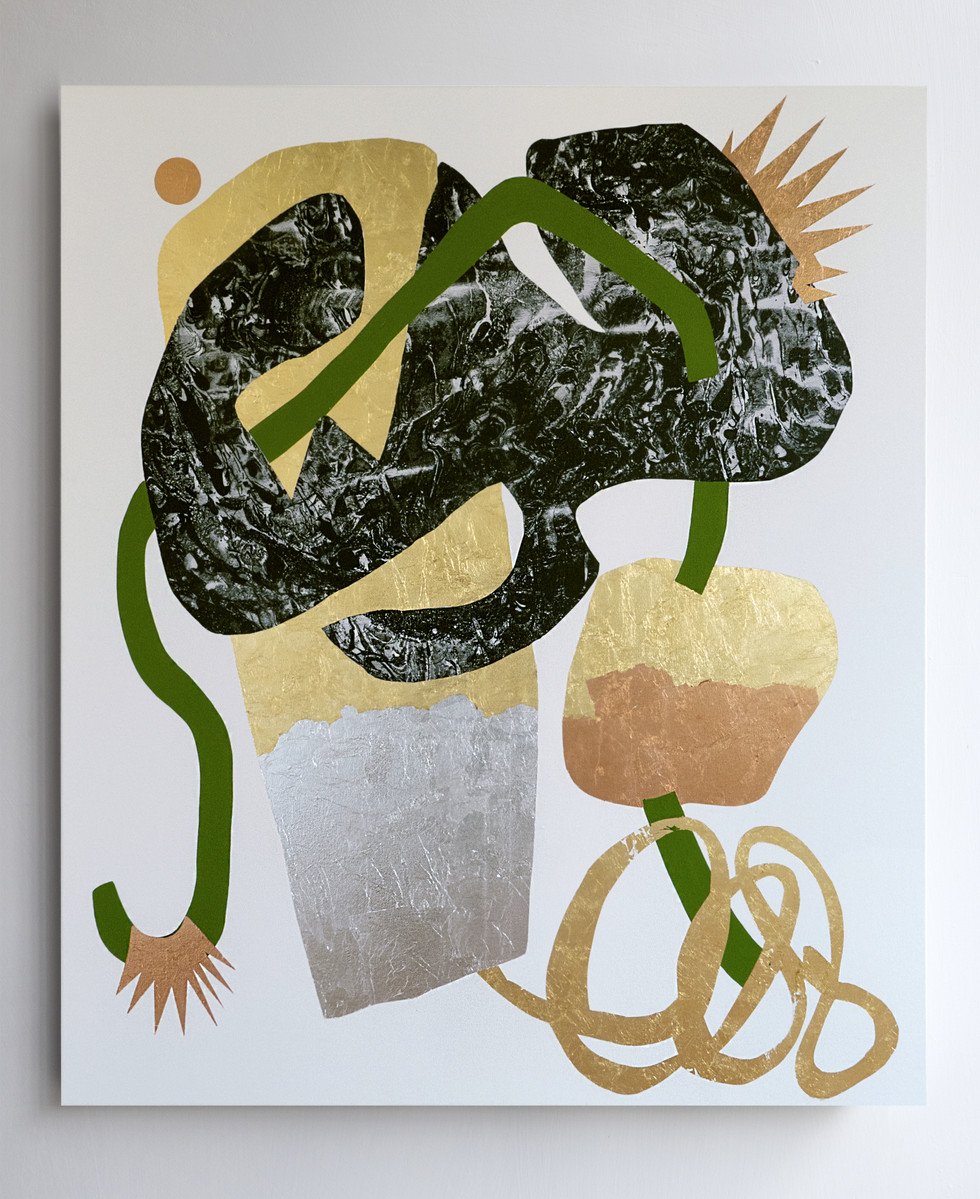 Portrait of a runner who runs with his thoughts 2018 Gold leaf, silver leaf, copper leaf and acrylic on printed marbled canvas 140x160cm