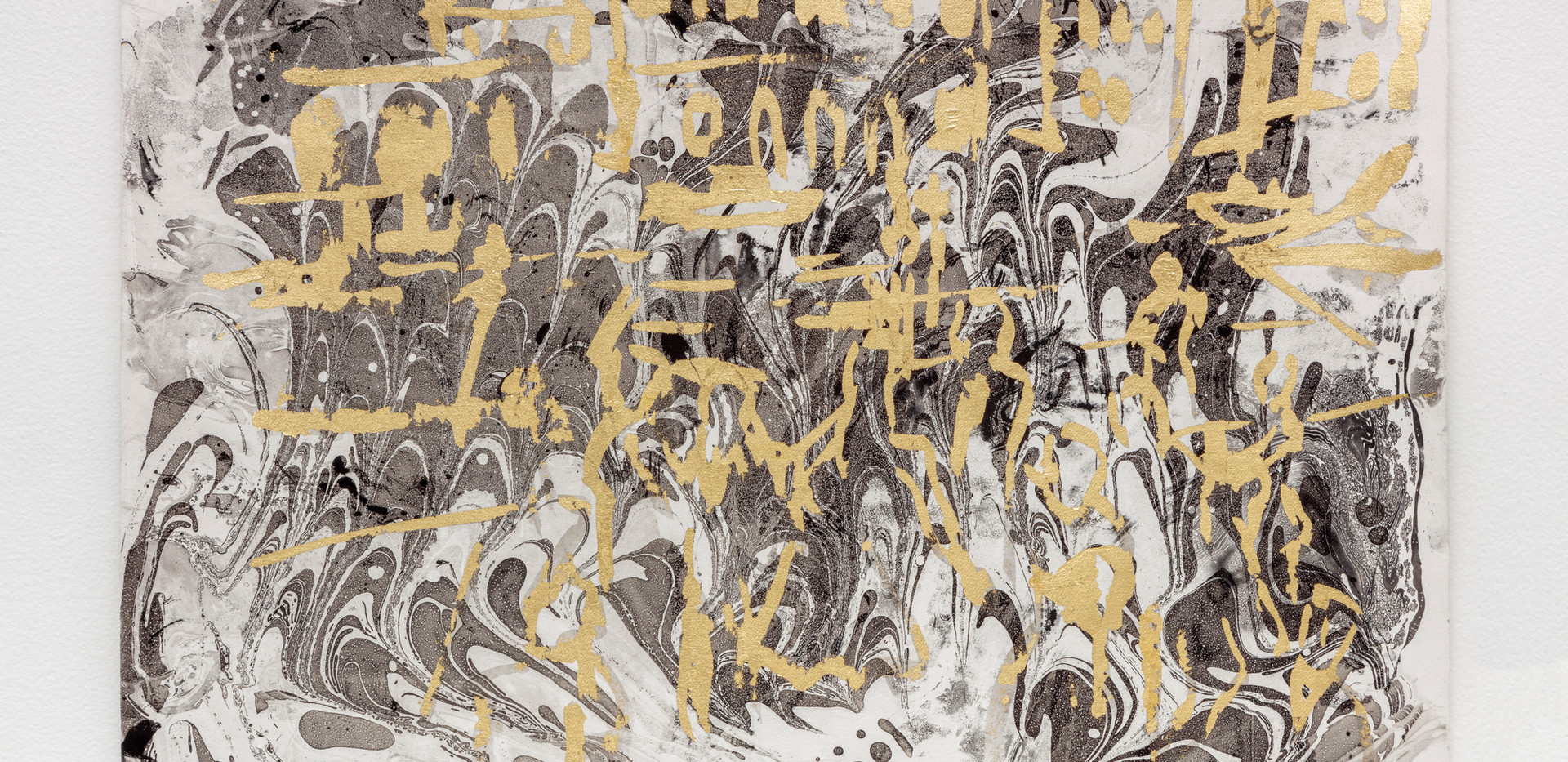 VIP party at Venice Biennal-2019 Gold foil on marbling rosaspina paper 35,5x50cm
