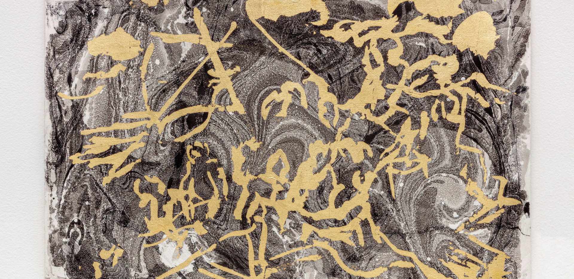 Méduse (Géricault tribute) 2019 Gold foil on marbling rosaspina paper 35,5x50cm