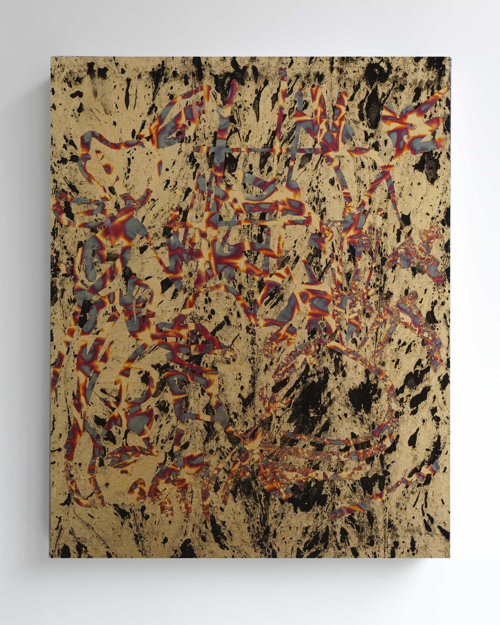 Indoor garden-2019-Oil marbled gold foil and variegated gold foil on canvas-40x50cm
