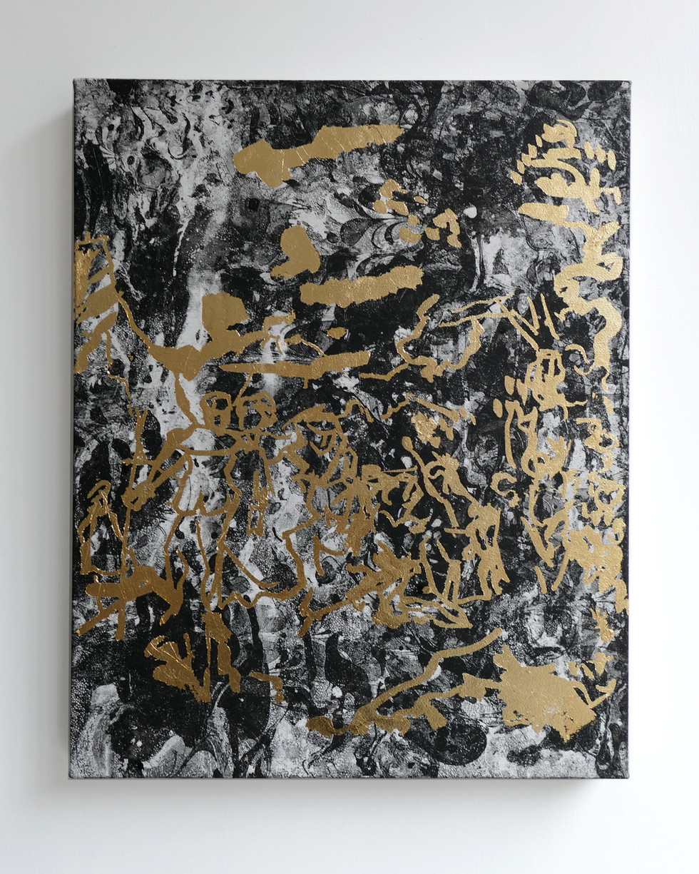 Oh Watteau! 2019 Gilding glue, gold foil on oil marbled canvas 40x50cm