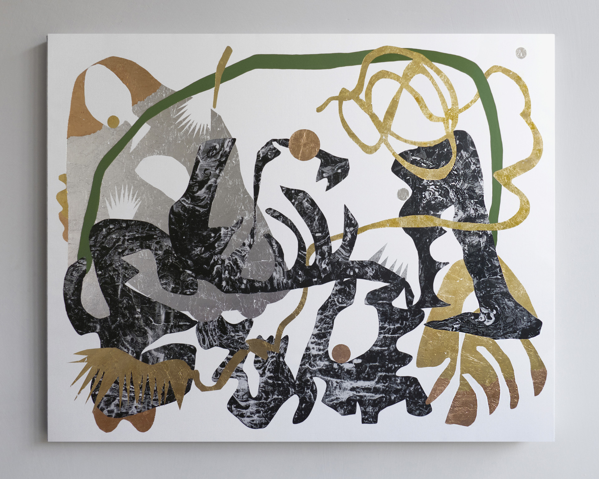 A picnic where everyone keeps secrets to themselves 2018 Gold foil, silver foil, copper foil and acrylic on marbled printed canvas 200x160cm