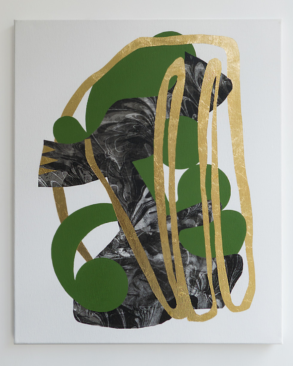 A long-winded person portrait 2018 Gold foil, acrylic on marbled canvas 50x60cm