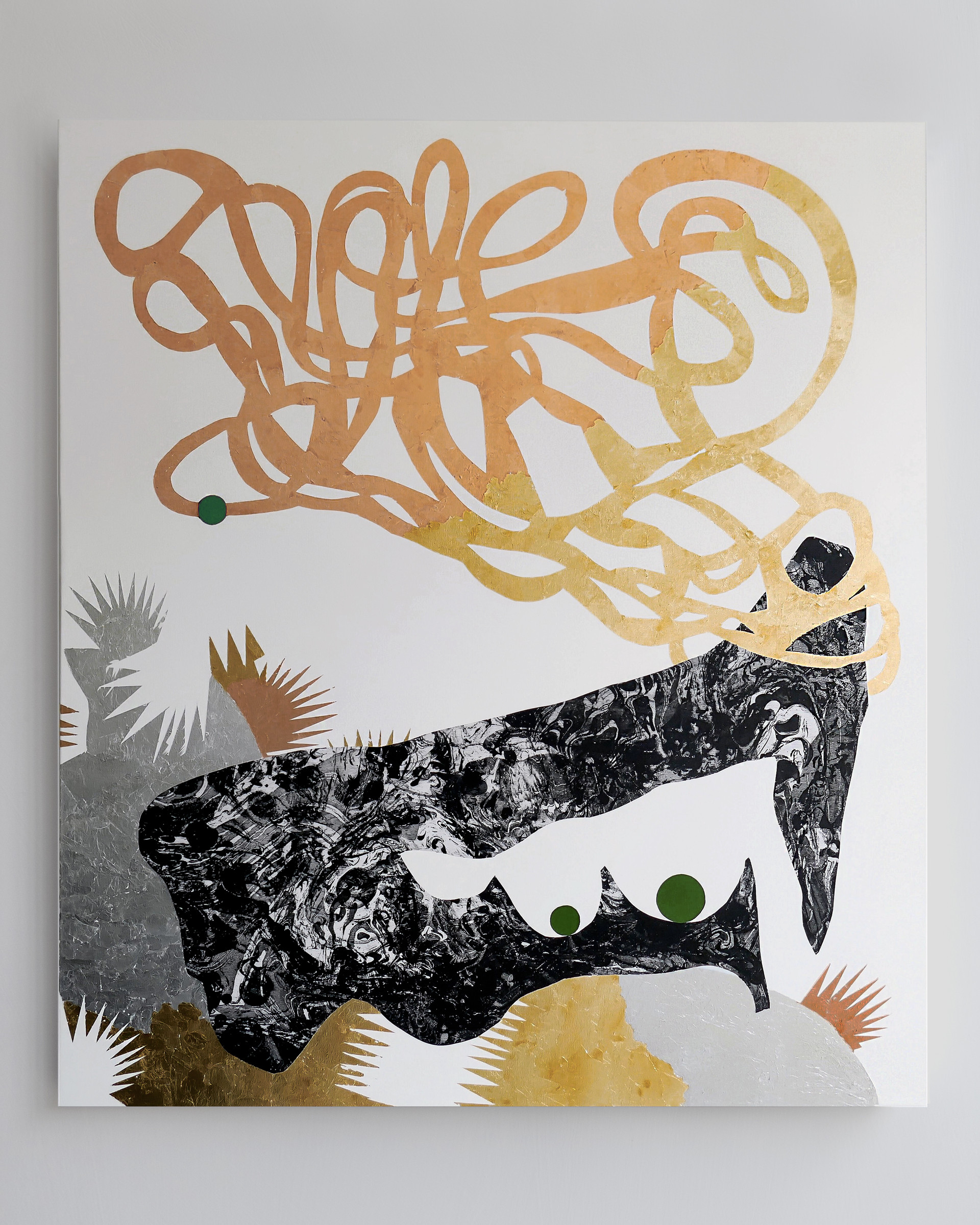 Portrait of a horny loner 2018 Gold foil, silver foil, copper foil and acrylic on printed marbled canvas 140x160cm