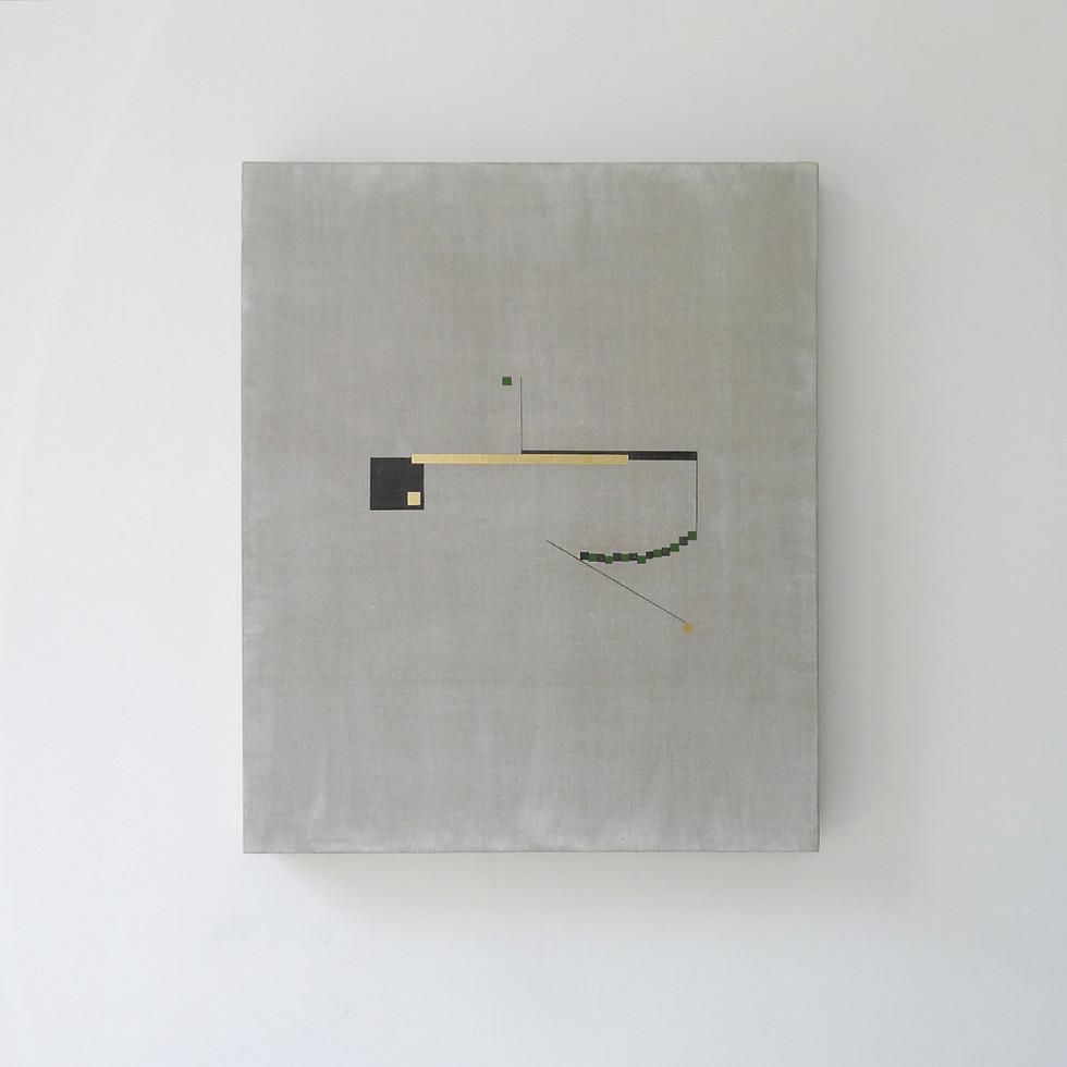 Quibbles of procrastination 2017 Gold foil, acrylic, graphite, wax, gesso and rabbit glue on linen 51x61cm