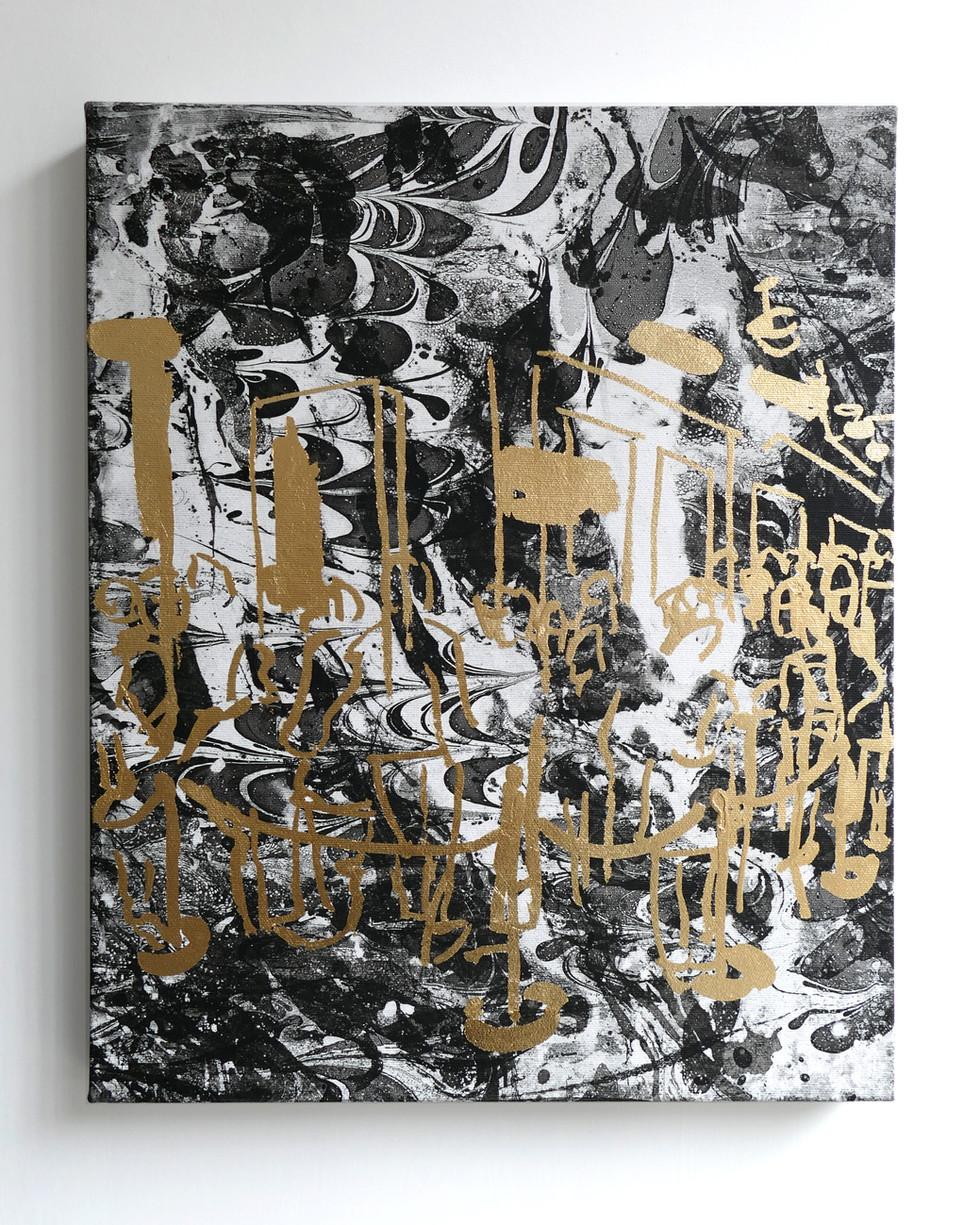 Shopping queue 2019 Gilding glue, gold foil on oil marbled canvas 40x50cm