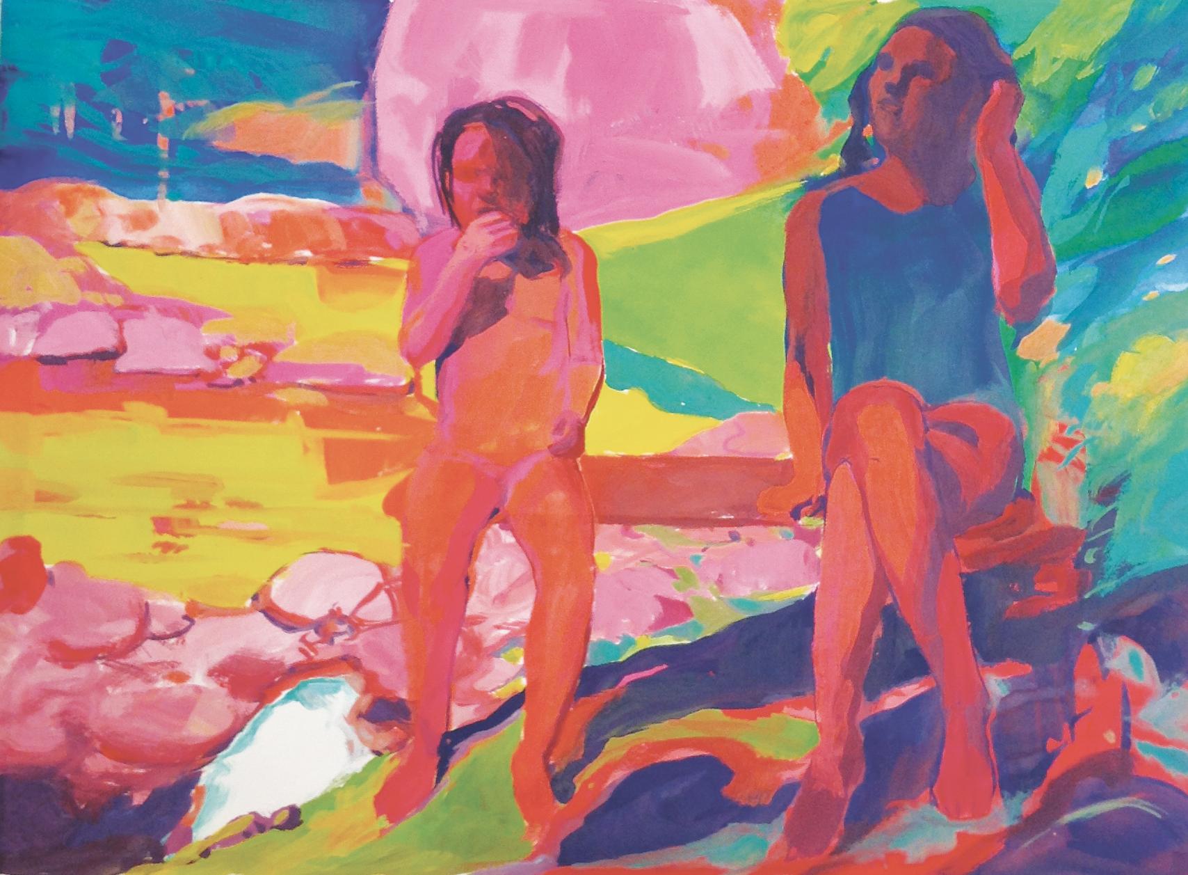 rivière jeunes filles sur le banc