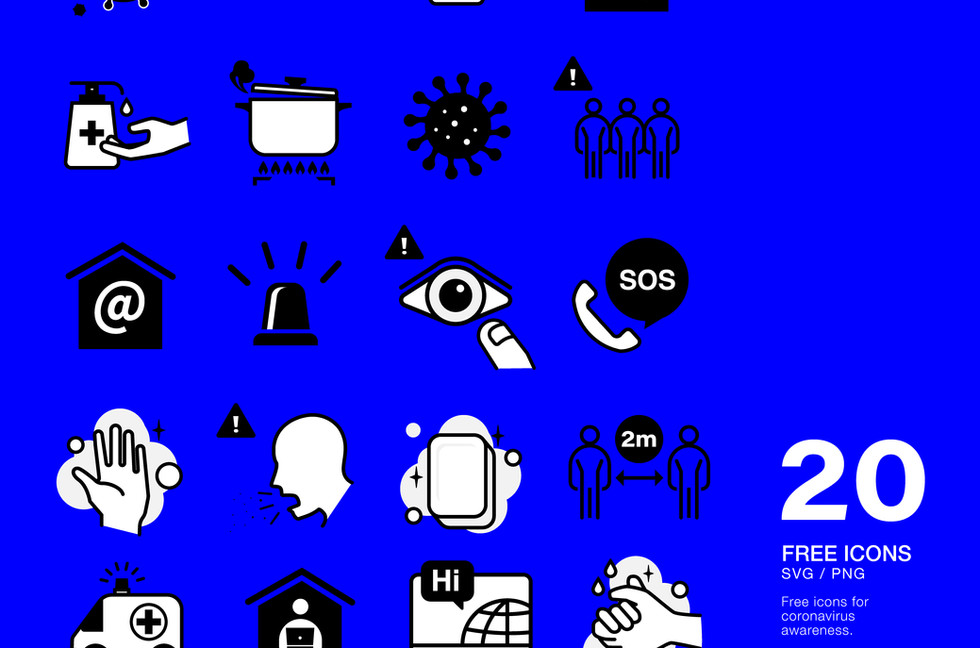 Free 20 icons for Covid-19
