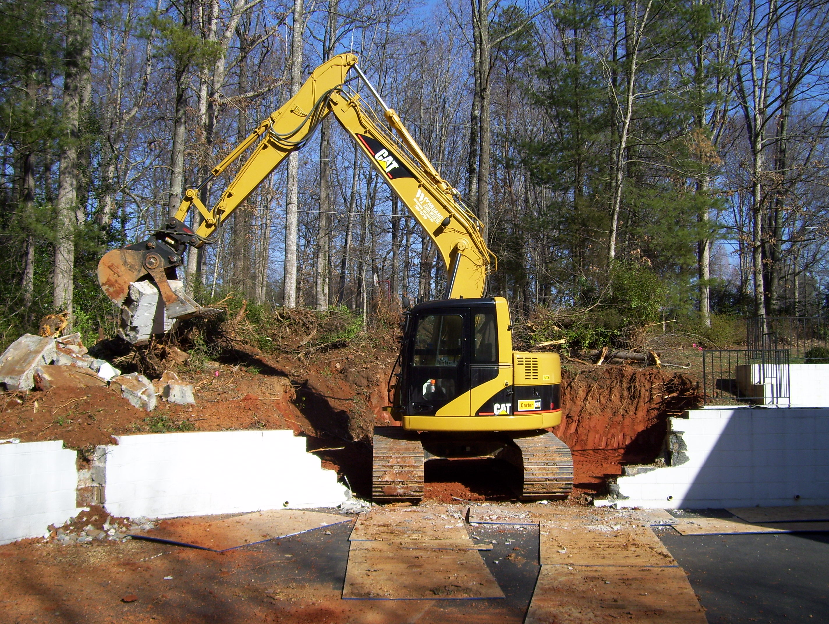 Retaining wall demolition