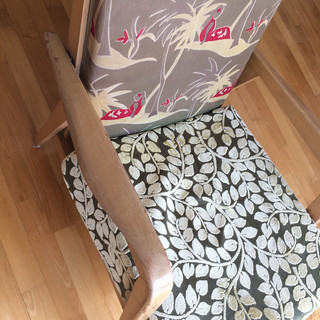 Vintage chair reupholstered with modern fabric