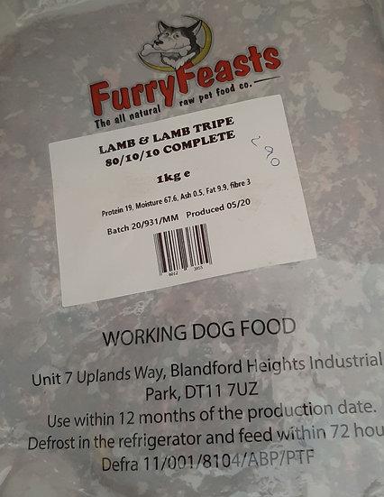 Furry feasts lamb and lamb tripe 1kg