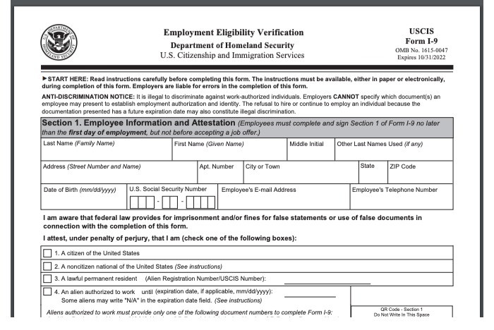 New I-9 form for employers and employees