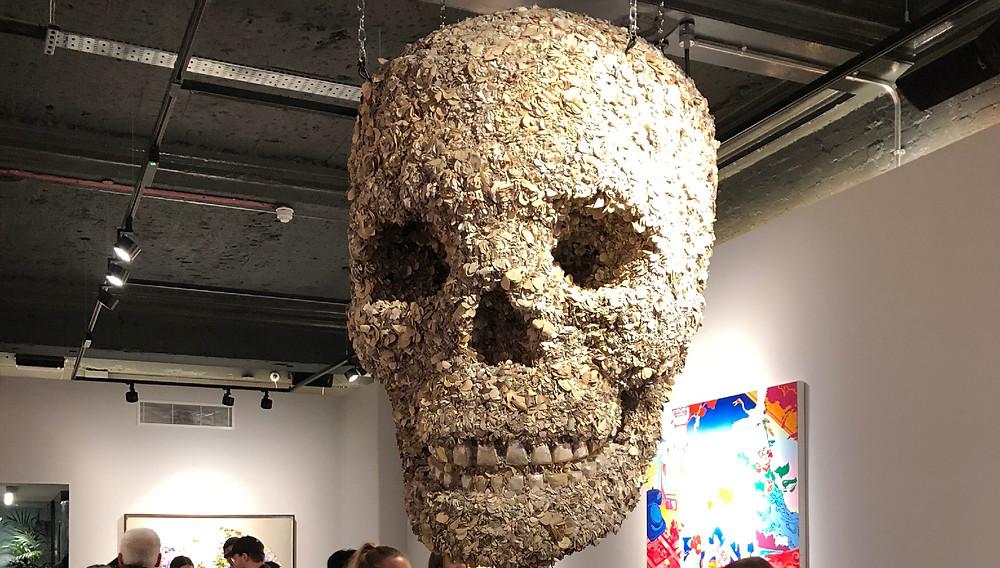 Floral Skull Leather Sculpture