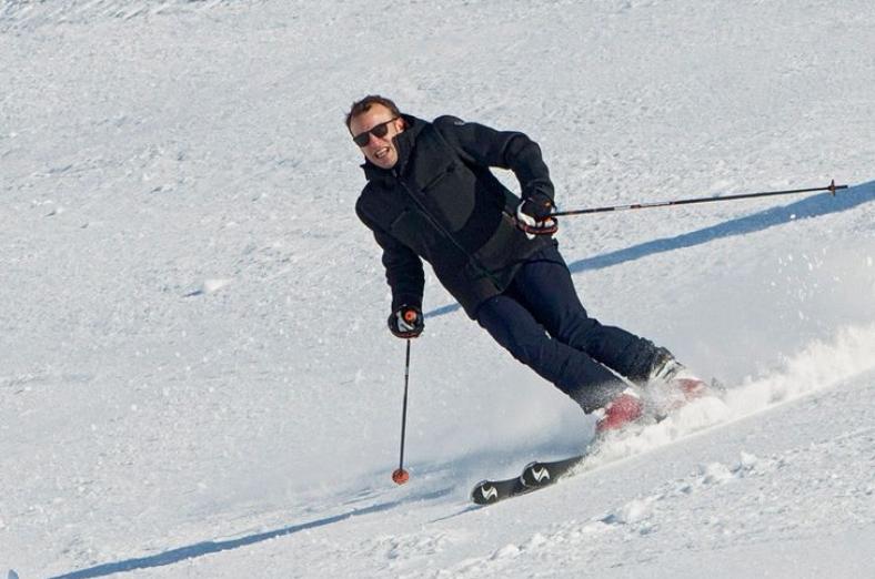 President Macron skiing