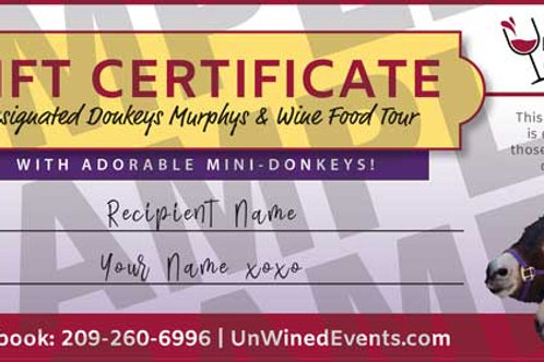 Designated Donkeys Gift Certificate