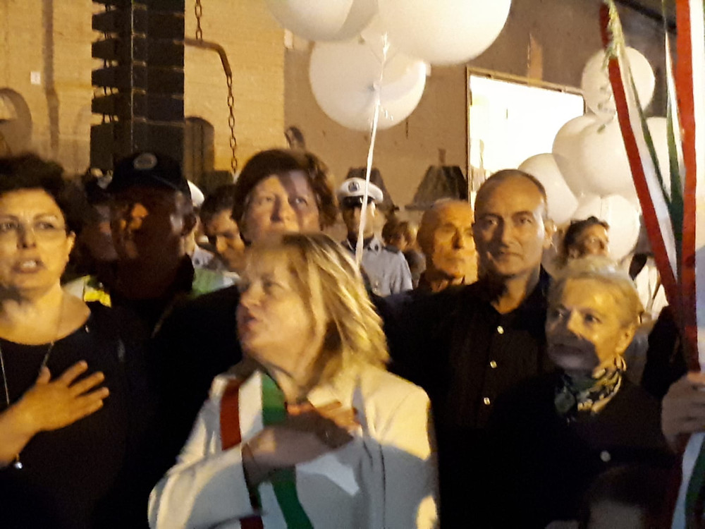 Mayor of Formigine, Maria Costi, at Piazza Repubblica inauguration ceremony (Alessandro Caronia in the background).