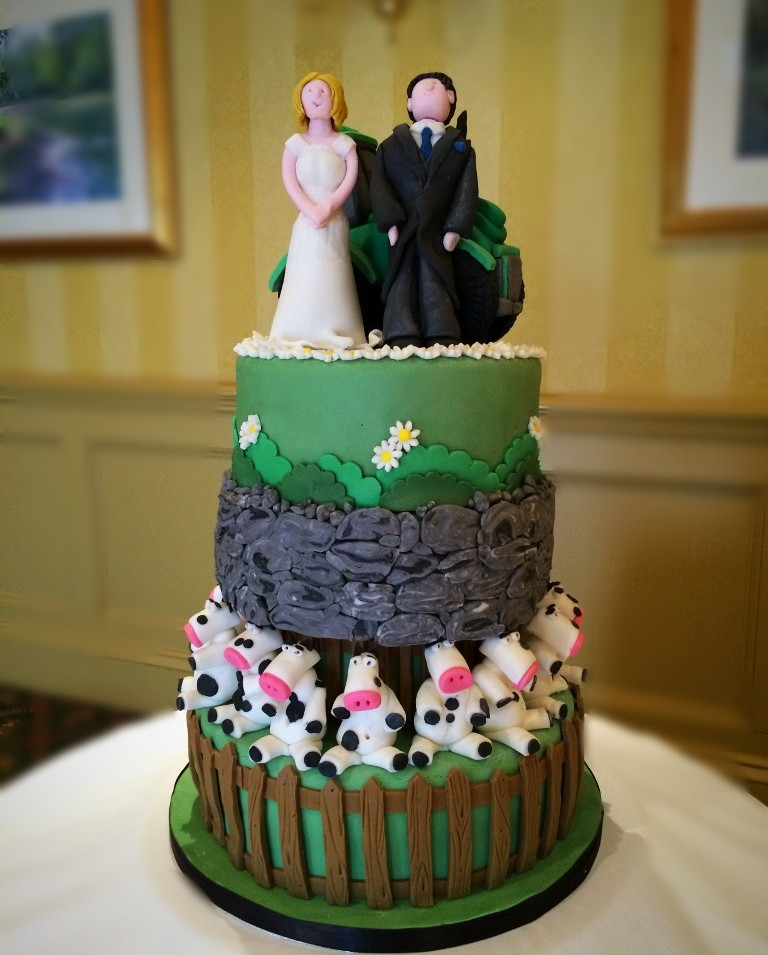 Farm themed wedding cake