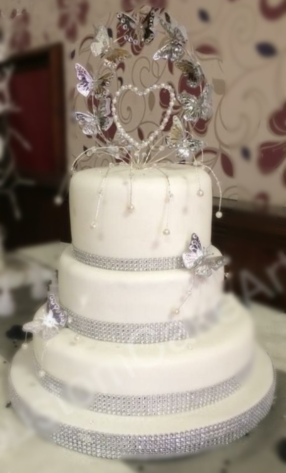 3 tier Butterfly bling wedding cake