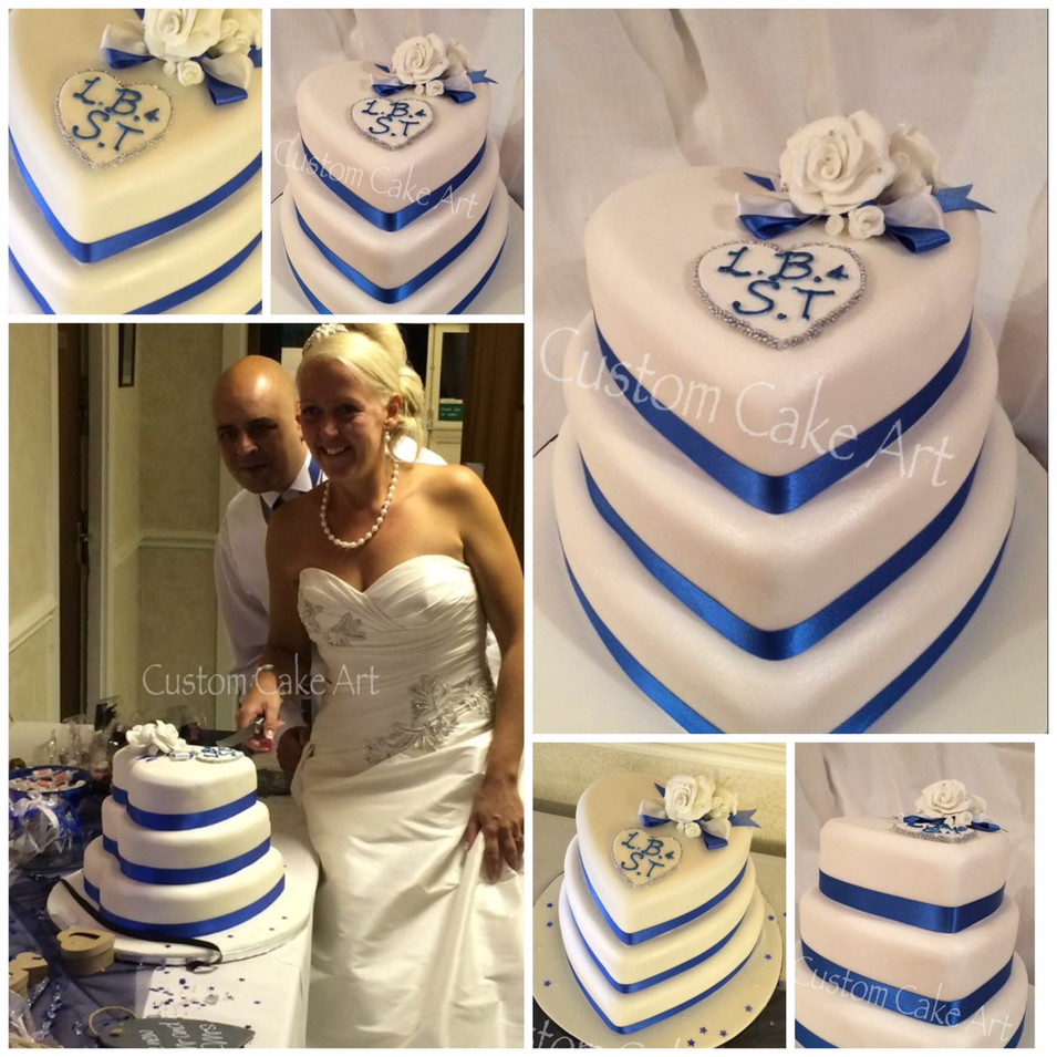3 tier white heart wedding cake