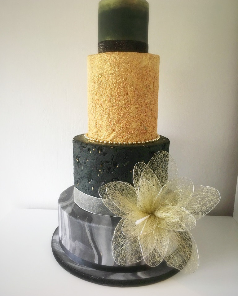 Gold rush wedding cake