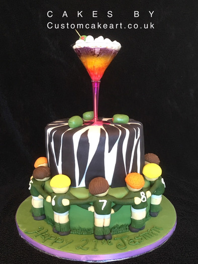 Zebra print Cocktail and rugby cake